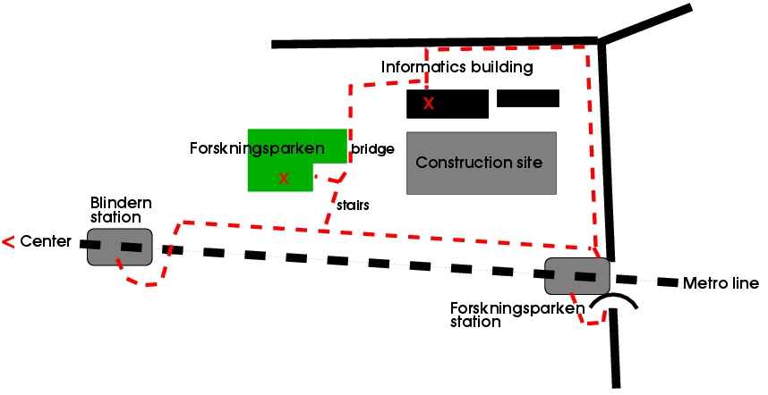 Map which shows how to reach workshop buildings